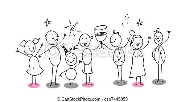 party, karikatur - csp7445053