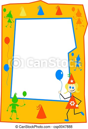 Party kids frame. Kids party border.