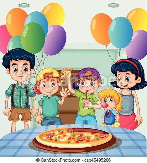 Party Kinder Essen Pizza Party Kinder Essen Abbildung Pizza