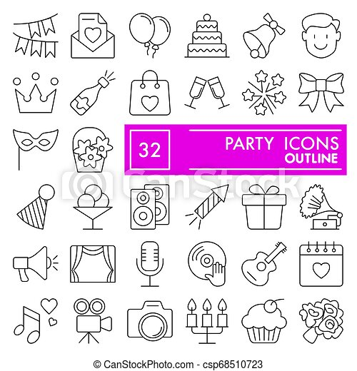 Party line icon set, celebration symbols collection, vector sketches, logo illustrations, entertainment signs linear pictograms package isolated on white background, eps 10. - csp68510723