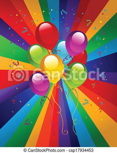 party, luftballone, bunte - csp17934453