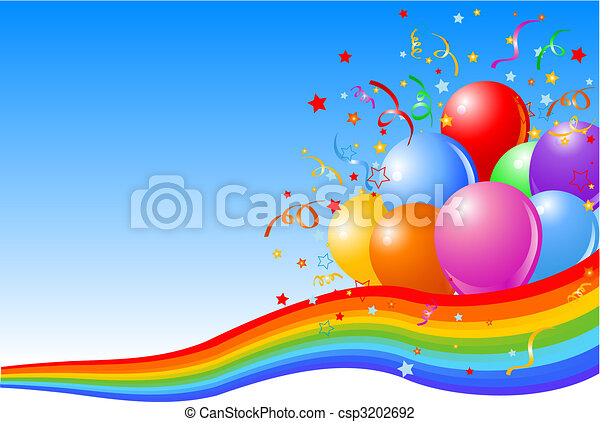 party, luftballone, hintergrund - csp3202692