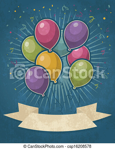 party, luftballone, retro - csp16208578