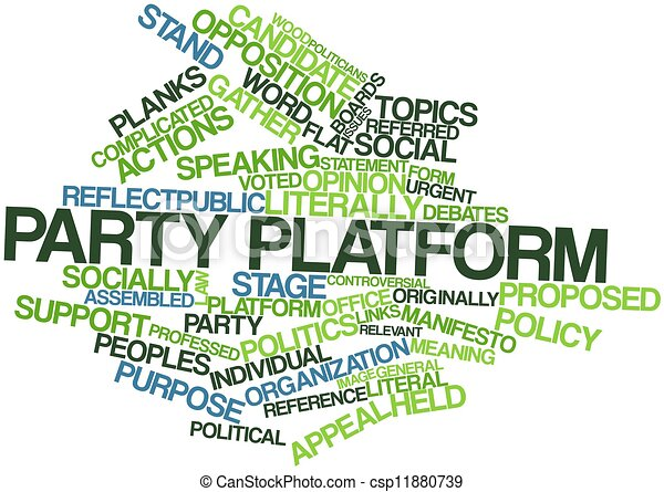 Abstract Word Cloud For Party Platform With Related Tags And Terms