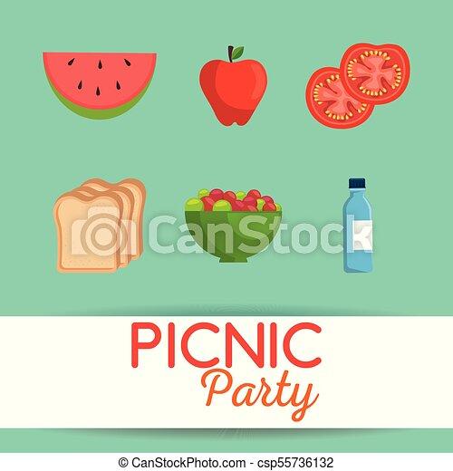 Party, satz, picknick, einladung, heiligenbilder. Satz,... Vektoren ...