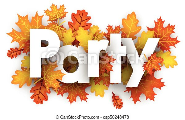Party sign with orange leaves. - csp50248478