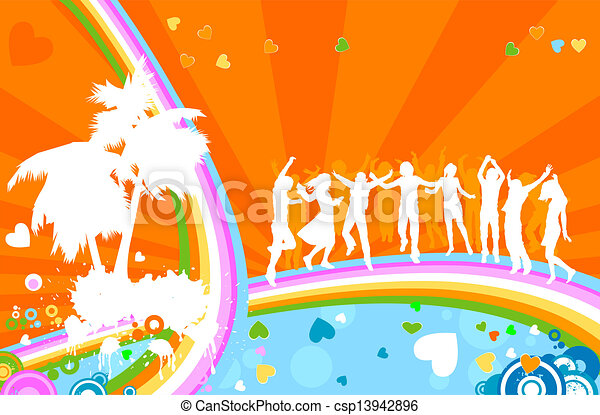 party;, silhuetas, adultos jovens - csp13942896