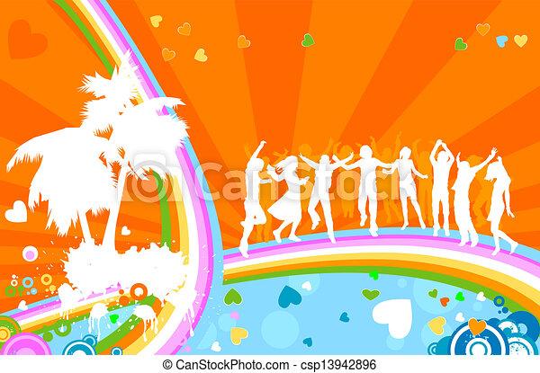 party;, siluetas, adultos jóvenes - csp13942896