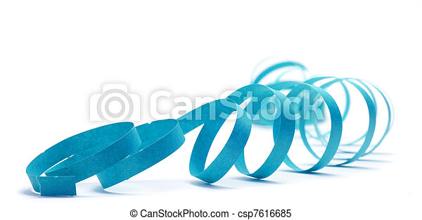 party streamer over a white background with blue color - csp7616685