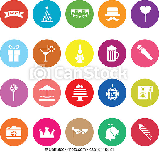 Party time flat icons on white background - csp18118821