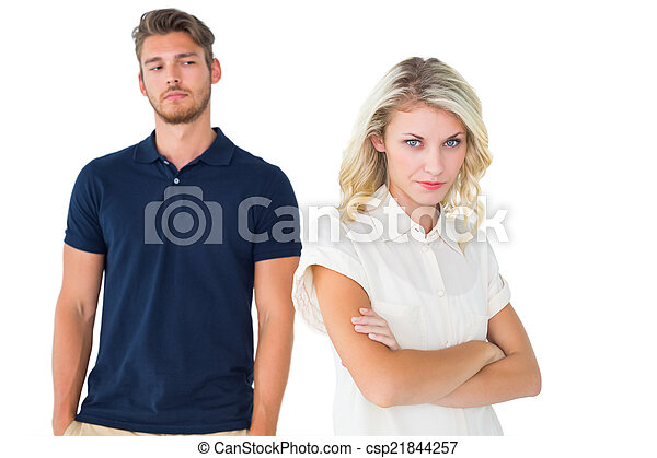 pas, blond, jeune, écoute, petit ami - csp21844257