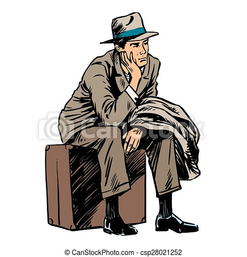 Pasajeros masculinos esperando viaje estilo retro - csp28021252
