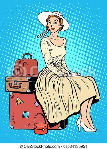 Una chica pasajera de viaje por equipaje - csp34135951