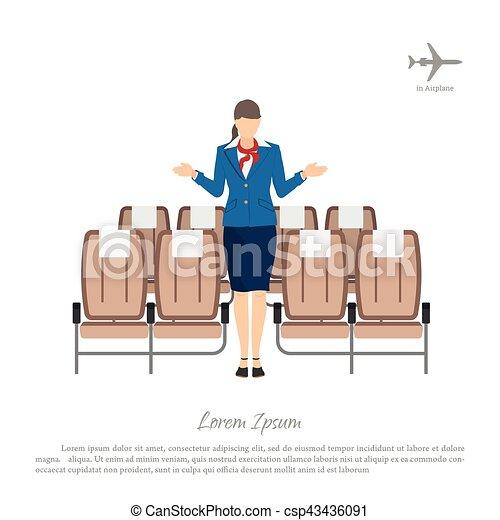 Pasajeros, mujer, trasplantes, uniforme, avión., azafata, asientos ...