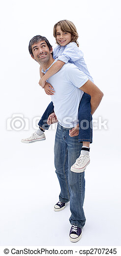 Papá llevando a su hijo - csp2707245