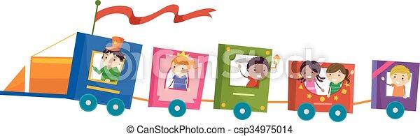 Los chicos Stickman reservan un viaje en tren - csp34975014