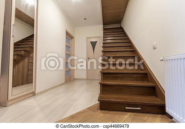Pasillo, casa de madera, moderno, piso, staps, elegante ...