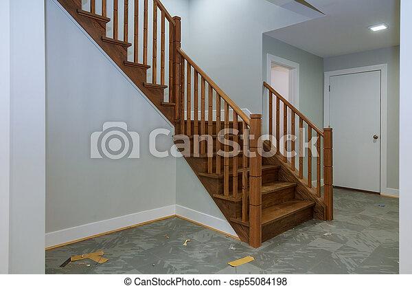 Pasillo escaleras madera dura floor de madera visin interior