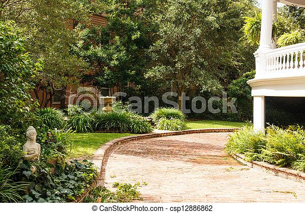 passé, brique, aménagé, allée, jardin