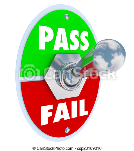 Pass Vs Fail Words Toggle Switch Grade Score Test Exam - csp20189810