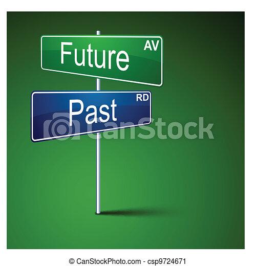 passado, direção, futuro, sinal., estrada - csp9724671