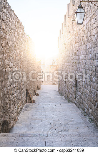 Passage in the Dubrovnik Old Town Walls - csp63241039