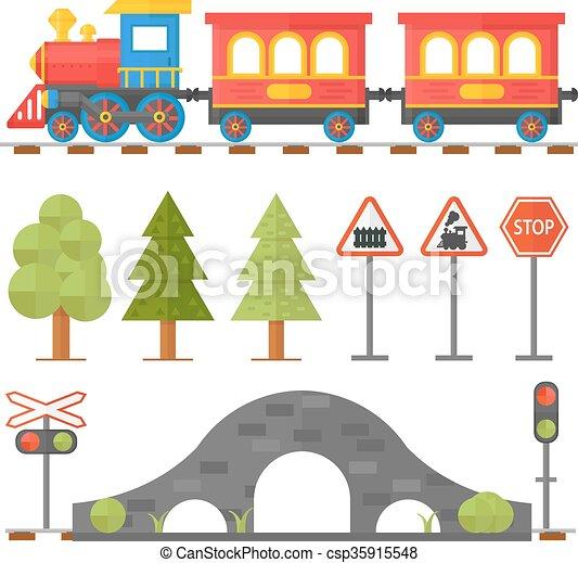 passageiro, conceito, jogo, illustration., ícones, estação, apartamento, mordomo, trem, desenho, brinquedo, estrada ferro, ferrovia - csp35915548