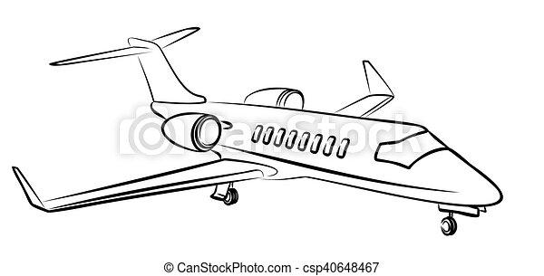 passageiro, esboço, aircraft. - csp40648467