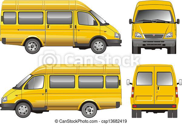 passageiro, furgão, amarela - csp13682419