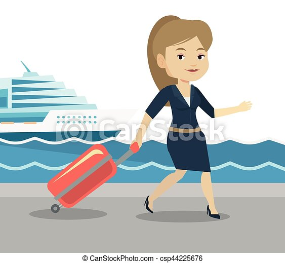 passageiro, ir, shipboard., mala - csp44225676