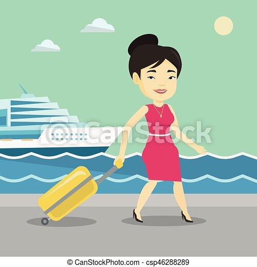 passageiro, ir, shipboard., mala - csp46288289
