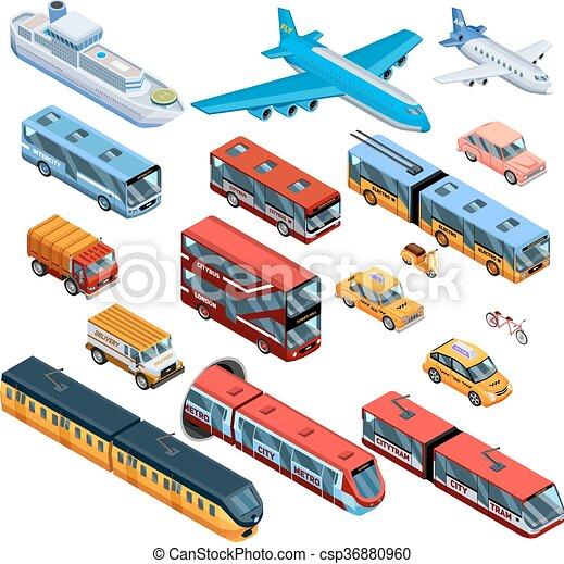 passageiro, isometric, transporte, ícones - csp36880960