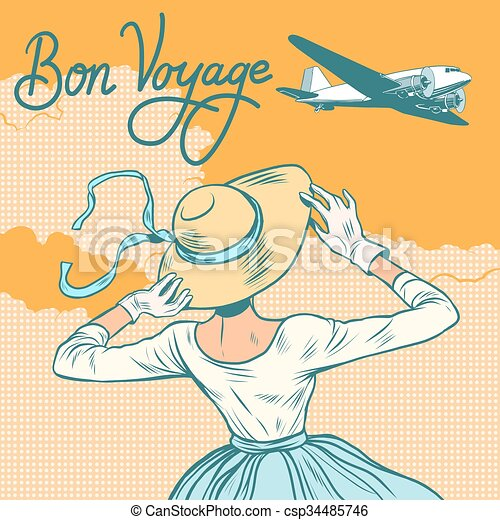 passageiro, menina, avião, viagem bon - csp34485746