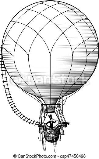 passageiro, quentes, ballon, ar - csp47456498