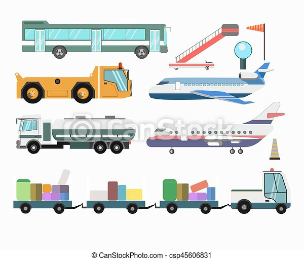 passageiro, serviço, ícones, veículos, aeroporto, vetorial, aviões - csp45606831
