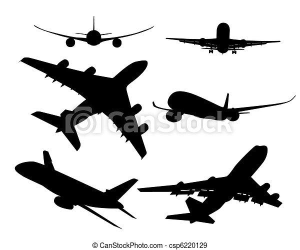 passageiro, silhuetas, pretas, aeronave - csp6220129