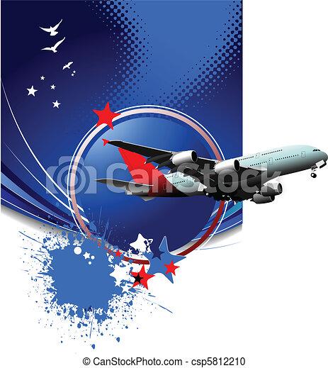 passageiro, ve, ar., avião. - csp5812210