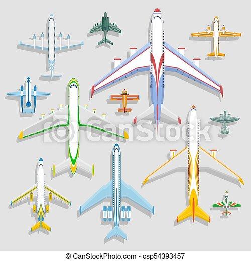 passageiro, vetorial, vôo, jato., viagem, topo, ícones, aviões, férias, ilustração, isolado, experiência., aeroporto, avião, turbina, vista, viagem, plane., transporte, piloto - csp54393457