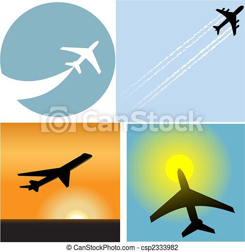 passager, icônes, voyage, aéroport, avion, ligne aérienne - csp2333982