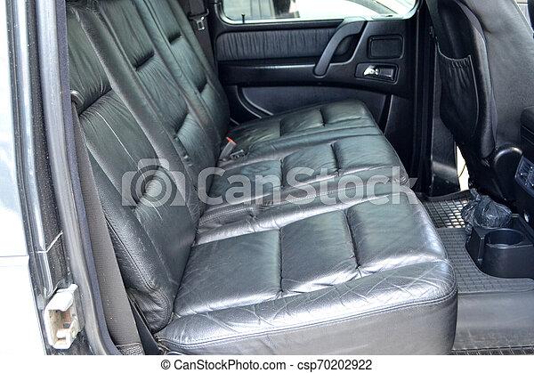 passager, industry., mat, voiture., sièges, coûteux, avant, préparation, authentique, service, détailler, noir, intérieur, suv, vente, auto, après, arrière, lavage, cuir, intérieur, cleaning., propre - csp70202922