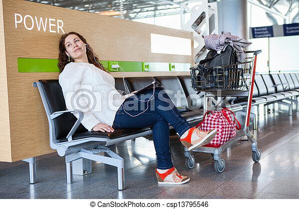 passager, tablette, bagage, dépenser, transit, temps, salon, pc, aéroport, hand-cart - csp13795546