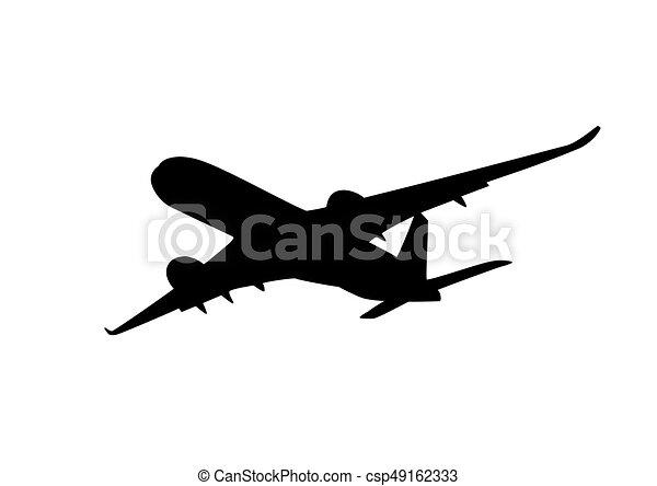 passagier, silhouette, straalvliegtuig - csp49162333