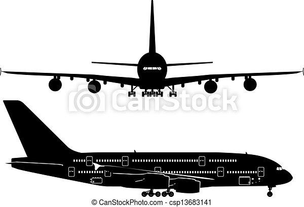 passagier, silhouettes, straalvliegtuig - csp13683141