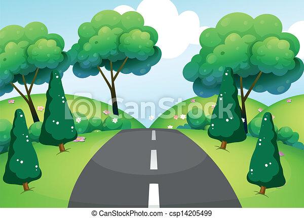 passare attraverso, colline, strada - csp14205499