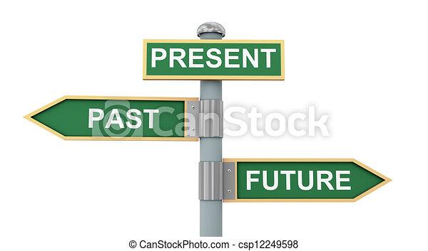 passato, futuro, strada, presente, segno - csp12249598