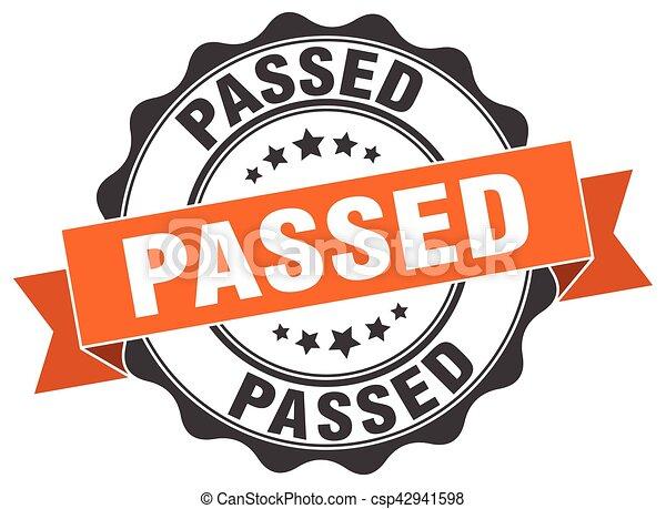 passed stamp. sign. seal - csp42941598
