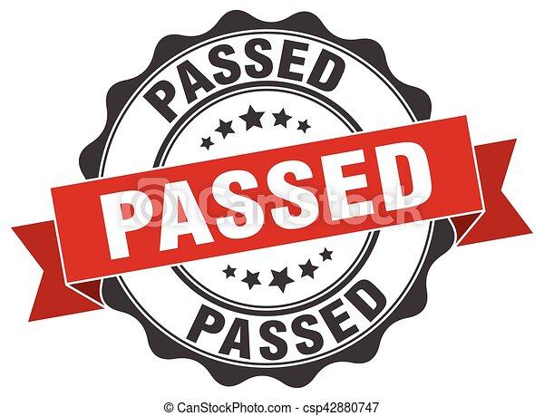 passed stamp. sign. seal - csp42880747