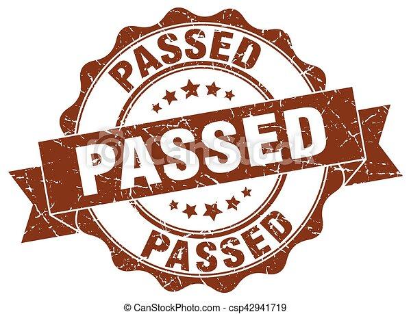 passed stamp. sign. seal - csp42941719