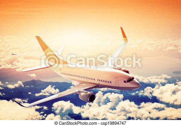 passeggero, carico, grande, aereo, flight., linea aerea, sopra, aeroplano, clouds., o - csp19894747