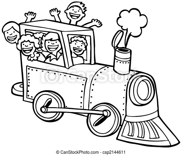 passeio, trem, arte, linha, caricatura - csp2144611